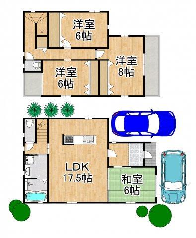 駐車2台可能なので来客にも対応できます☆ 17.5帖のリビングダイニングのある4LDKです^^