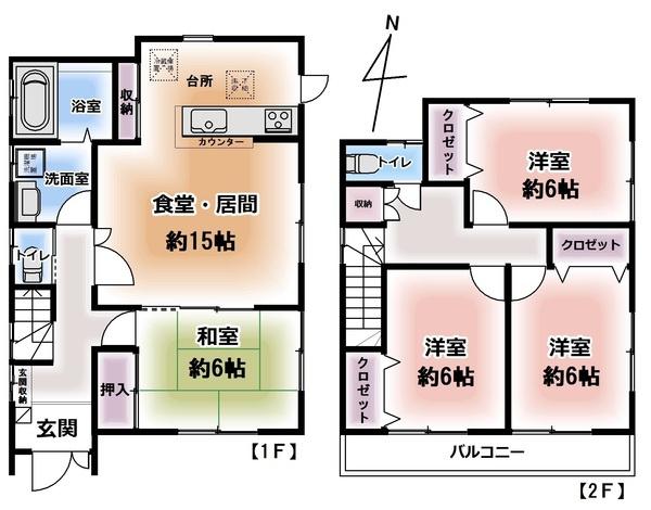 LDKのつづき間落ち着いた和室を設けています。 2階は洋室3部屋、バルコニーも広いのでお天気の日には洗濯物も一度に干せます。