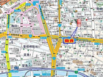 【地図】リーガル梅田Ⅱ