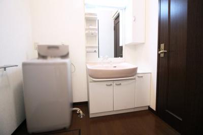洗面化粧台はシャンプーができるタイプです。急な怪我や病気などで入浴出来ない時でも洗面台でシャンプーが出来て助かります。