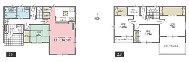 2号棟 4LDK+WIC:1ヶ所 家事動線のよい間取りです。時短になり動きやすいです。