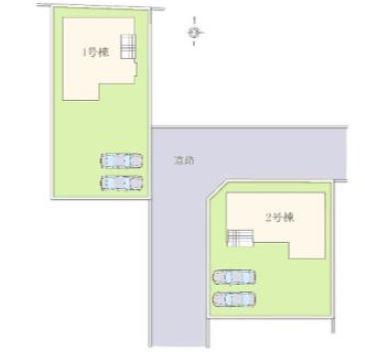 2号棟 カースペース2台以上可能です。前面道路が6mあるので駐車もラクラクです。