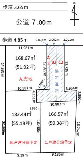 【土地図】深谷市原郷 1180万 土地