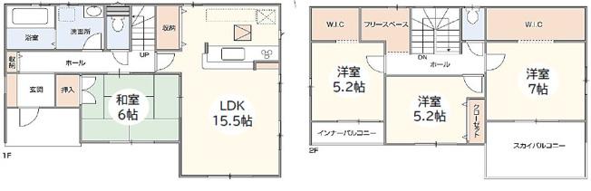 1号棟 4LDK+WIC×2+フリースペース WICが2ヶ所ある間取りです。お洋服もたっぷりかけられます。
