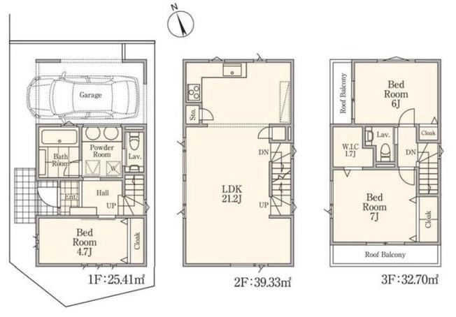 ◇Floor plan◇1号棟:13,800万円/建物面積109.86㎡/3部屋+リビング21.2帖+WIC+車庫付き/南向きバルコニー