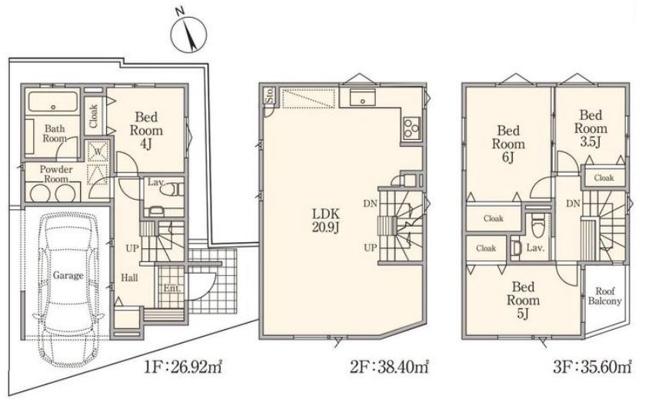 ◇Floor plan◇2号棟:13,400万円/建物面積112.09㎡/4部屋+リビング20.9帖+全部屋収納有+車庫付き/南向きバルコニー