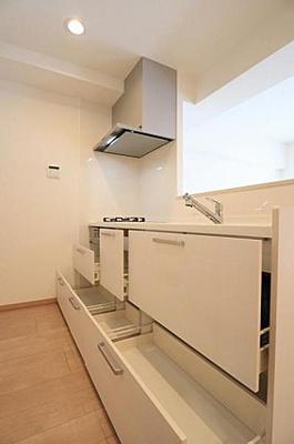 浄水器付システムキッチン新規交換済、収納スペースもたっぷり。