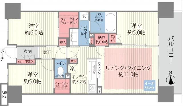 中古マンション 3LDK 専有面積:67.32平米(壁芯) バルコニー面積:11.47平米 東向き