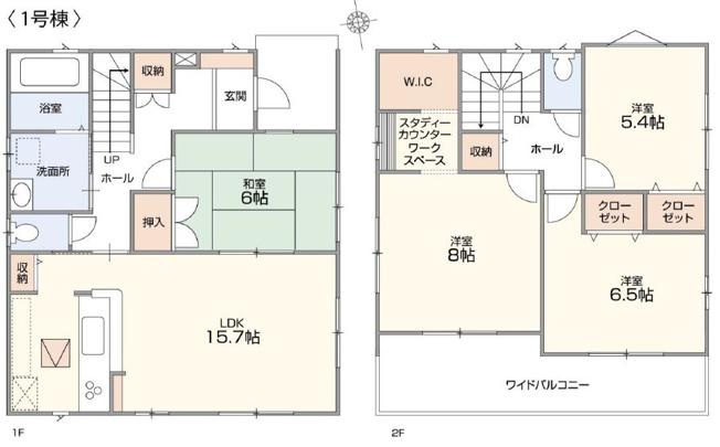 1号棟 4LDK+WIC+ワークスペース 和室は玄関から直接出入りできるので客間として使用できます。