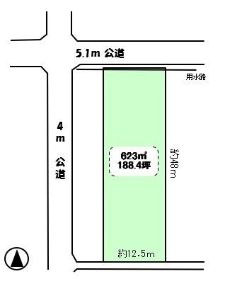 【土地図】つくば市臼井 188坪 資材置場などに最適です