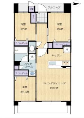 中古マンション 3LDK 専有面積:60.92平米(壁芯) バルコニー面積:不明 東向き