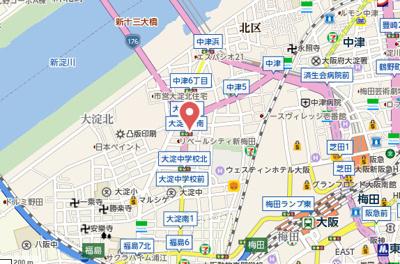 【地図】パークサイドメゾン新梅田