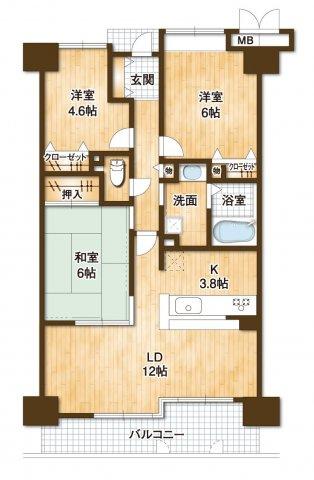 中古マンション 3LDK 専有面積:71.53平米(壁芯)バルコニー面積:9.1平米 東向き