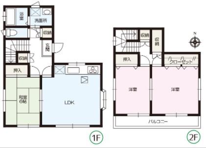 3LDK 1階LDKと隣の和室6帖で広々ゆったり過ごせます。