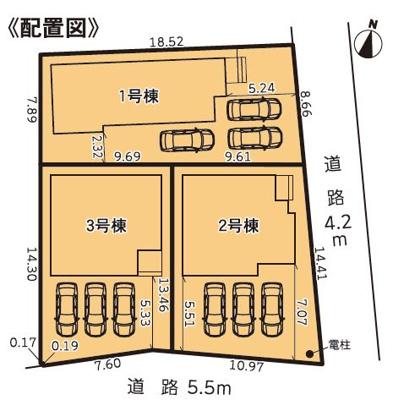 【区画図】袋井市広岡 新築一戸建て 3号棟 TK