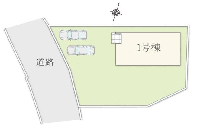 1号棟 カースペース2台以上可能です。前面道路6mあるので駐車もラクラクです。