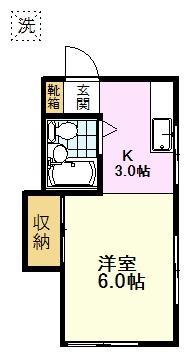 武蔵台アパート、1K