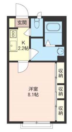 キッチン2.2帖・洋室8.1帖の1Kタイプのお部屋です☆ちょっと広めのお部屋をお探しの単身者さんにオススメ☆