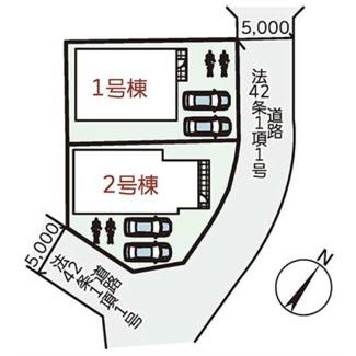 【区画図】神戸市西区白水1丁目2期 新築一戸建て 2区画分譲