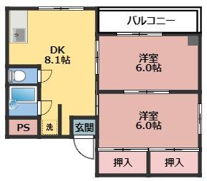 全室角部屋。DK8.1帖・洋室6帖2部屋の2DKの間取り。