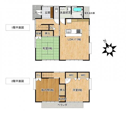 アイランド式にキッチンを配し、明るくて広くて、使いやすいキッチンになります。 全個室8帖になります
