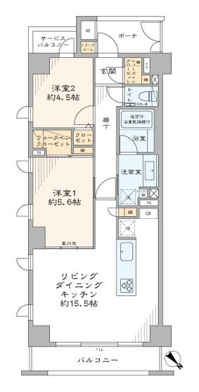 ジェイパーク中目黒Ⅳ:3方向角部屋につき陽当り・通風良好な2LDKエアコン付きリノベーション物件はフラット35s&住宅ローン控除利用可能です!