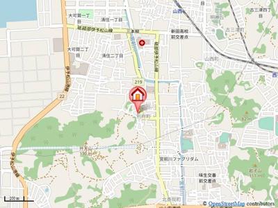 【地図】メイプル別府
