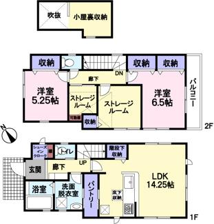 全室南向き。シューズインクロークやパントリー、階段下収納や小屋裏収納など、収納が豊富です。