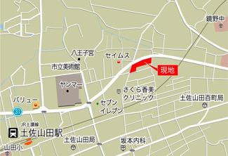 【地図】香美市土佐山田町4棟
