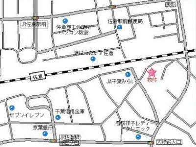 【地図】佐倉市六崎 第1種住居地域 売地
