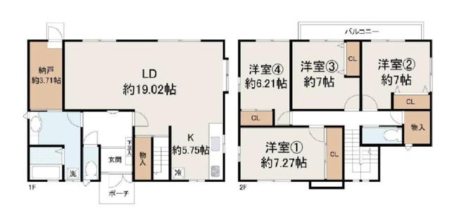 LDK約24.77帖の大空間!全居室6帖以上のゆったりとした間取り!収納もたっぷり!