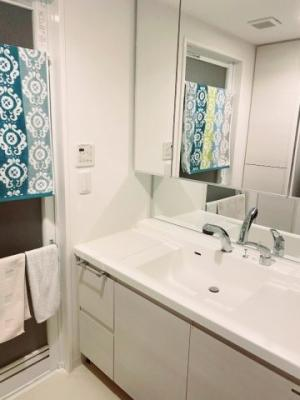 幅広のボウルが使い勝手の良い洗面台です。収納もたっぷりで朝も混雑しませんね♪