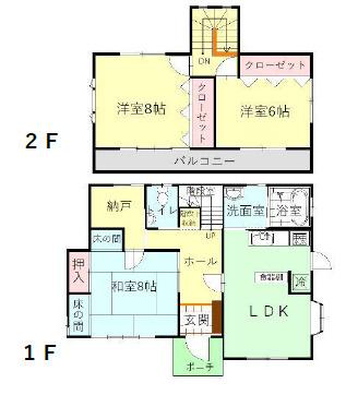 12帖LDK+和室8帖+洋室8帖、6帖と広い納戸があります。キッチンのシンク上段棚と食器棚があります。キッチン収納充実しています。
