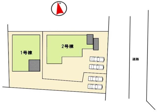 1号棟 カースペース2台以上駐車できます。