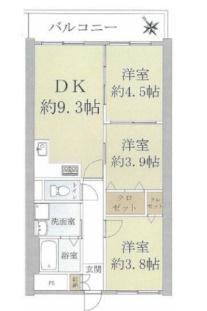 中古マンション 3DK 専有面積:51.84平米(壁芯)バルコニー面積:6.48平米 北東向き