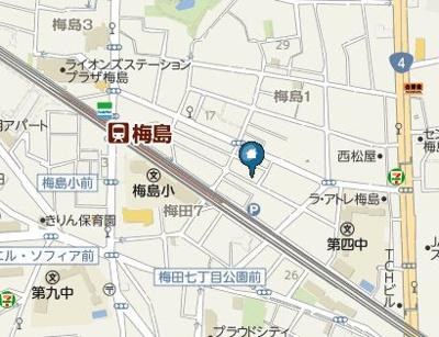 【地図】T.A足立区梅島1丁目ⅦA棟