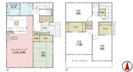 全居室6帖以上でゆったりした間取りです。LDK16.0/和室6.0/洋室8.5/洋室6.0/洋室6.0の4LDKのおうちです。