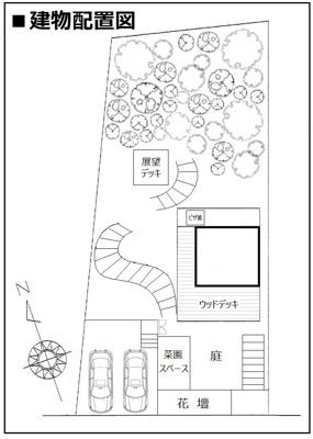 【区画図】◆オーシャンビューのウッドデッキが自慢◆ログハウス風◆敷地200坪◆和歌山県西牟婁郡白浜町