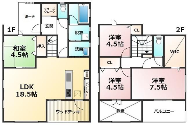 建築プランご用意しております。こちらは4LDKです。詳細はお問い合わせください。
