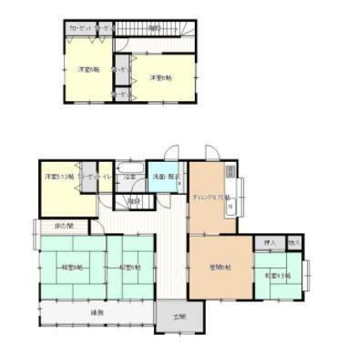 5LDK 建坪約45坪!広々和風2階建住宅です。