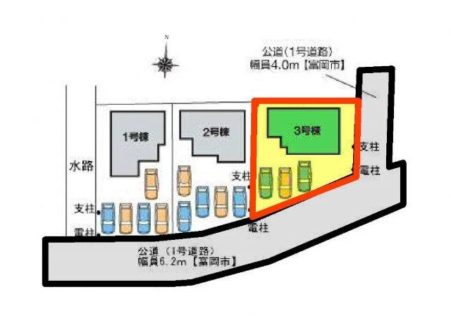 3号棟 区画図 南側接道幅員約6.2m 東側接道幅員約4m