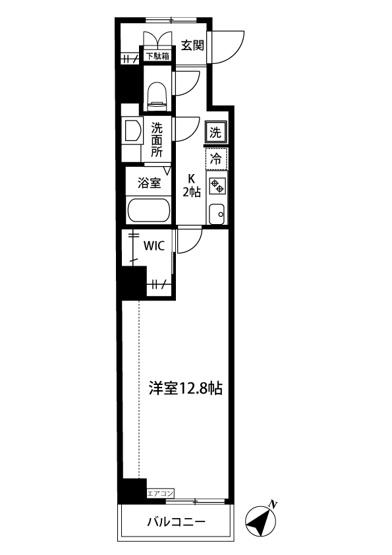 キッチン2帖・洋室12.8帖の角部屋の1Kタイプのお部屋です☆ちょっと広めのお部屋をお探しの単身者さんにオススメ☆