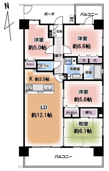 南。東・北の3方向角部屋。 4LD・K+二面バルコニー。