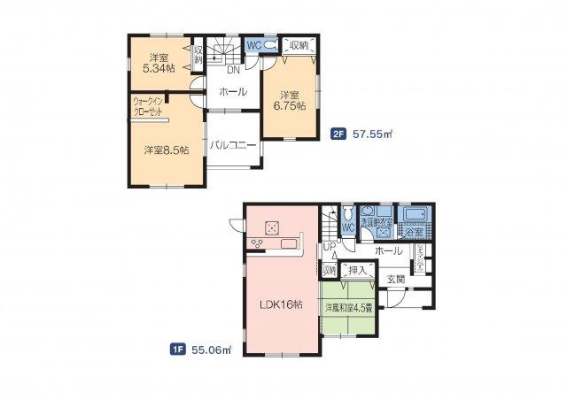 建物面積34.06坪 シューズインクローク・ウォークインクローゼット・各部屋収納付きで便利です!インナーバルコニーなので突然の雨でもお洗濯物も安心です♪