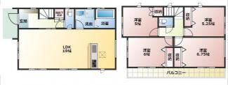 高浜市呉竹町2期新築分譲住宅1号棟間取です。