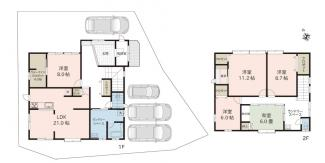 5LDK+WIC+書斎、1F,2Fにランドリースペース(室内物干しユニット設置) 駐車スペース4台可!ゆったり広々空間です('ω')ノ