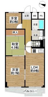 専有面積53.90平米(約16.30坪) 3LDK 1,598万円