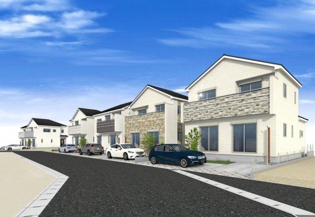 【外観パース】新築 茅ヶ崎市萩園 1号棟