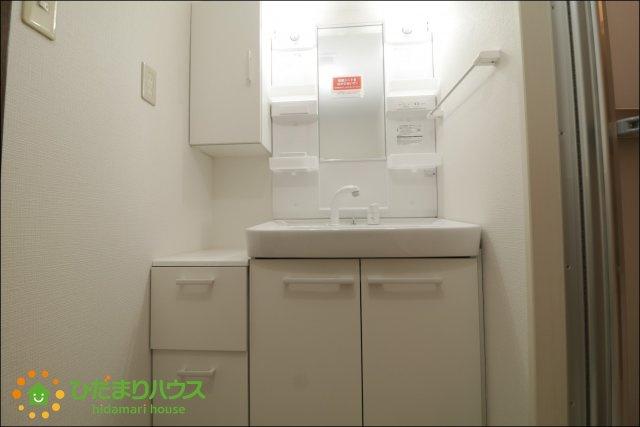 大きな鏡とシャワー付きの洗面台で朝の準備も捗ります♪