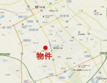 【地図】つくば市二の宮 第1種中高層住専地域 一棟ビル